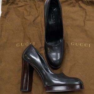 Gucci platform pumps gunmetal 6.5